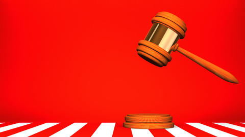Wooden Judge Gavel On Red White Text Space Animation
