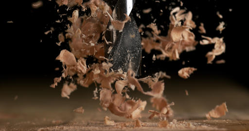 Wood Chip Turning on a Wood Board, Making Chips, Slow Motion 4K Footage