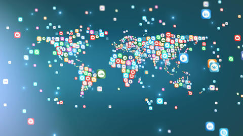 World map - Social Media icons 1 Animation