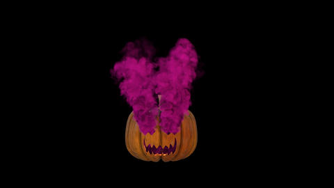 Halloween pumpkin lantern with pink smoke GIF