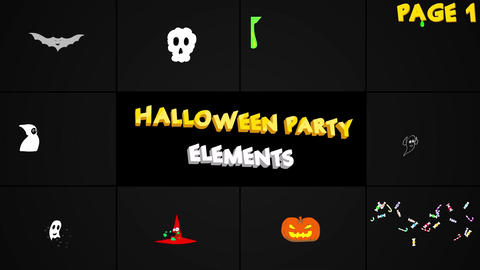 Halloween Party Elements And Titles Plantilla de After Effects