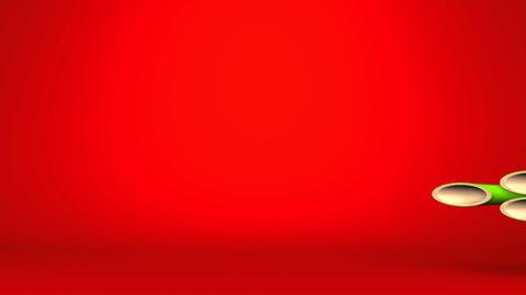 New Year Long Kadomatsu Ornament On Red Text Space CG動画