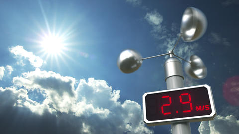 Anemometer shows 40 meters per second wind speed. Weather forecast related 3D Live Action
