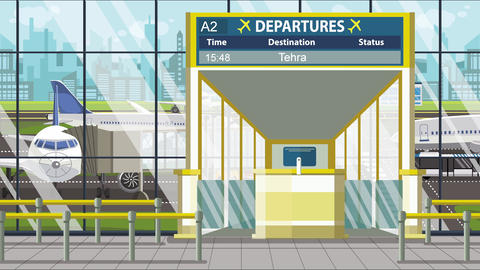 Flight to Tehran on airport departure board. Trip to Iran loopable cartoon Footage