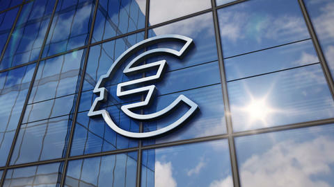 Euro currency symbol on glass mirrored building CG動画