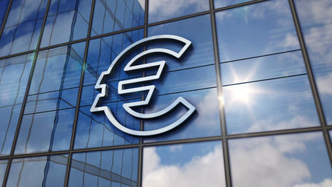 Euro currency symbol on glass mirrored building, Stock Animation