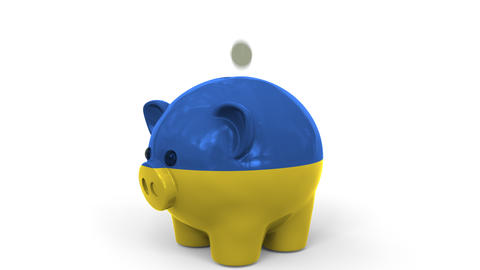 Coins fall into piggy bank painted with flag of Ukraine. National banking system Live Action