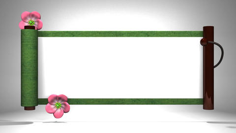 Scroll And Blooming Flowers On White Background Videos animados
