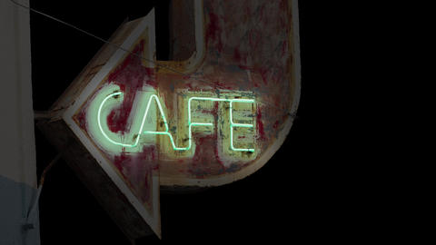 Isoated Grungy Neon Cafe Sign CG動画