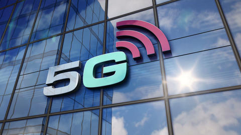 5G mobile communication on glass wall and mirrored building CG動画