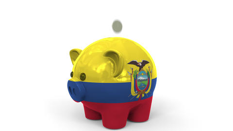Coins fall into piggy bank painted with flag of Ecuador. National banking system Live Action
