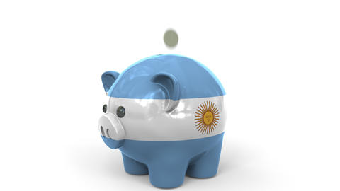 Coins fall into piggy bank painted with flag of Argentina. National banking Live Action
