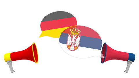 Speech bubbles with flags of Serbia and Germany and loudspeakers. Intercultural Live Action