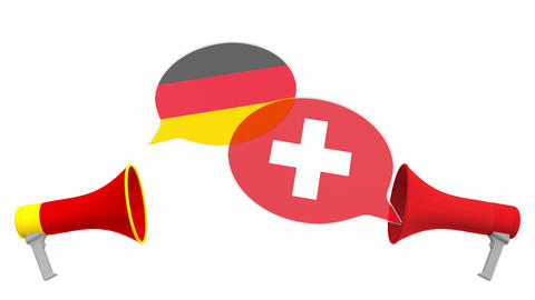 Speech bubbles with flags of Switzerland and Germany. Intercultural dialogue or Live Action