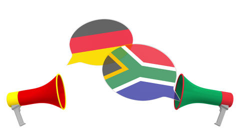 Speech bubbles with flags of South africa and Germany. Intercultural dialogue or Live Action