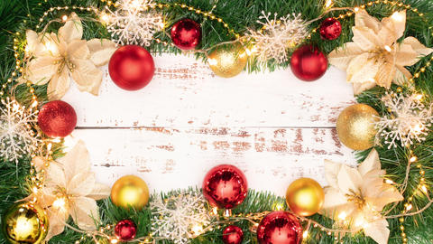 Focusing beautiful frame - border of Christmas ornaments in red and gold color with empty space Animation