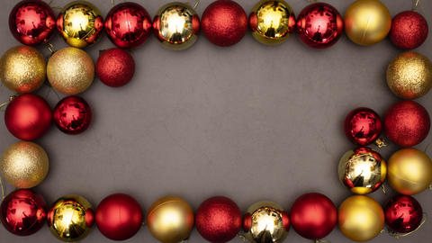 Gold and red Christmas balls appear inside the beautiful frame and leave empty space inside for text Animation