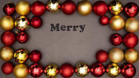 Merry Christmas title appear inside beautiful frame of gold and red balls Animation