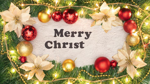 Christmas decorative frame with gold and red balls and Merry Christmas title appear inside Animation