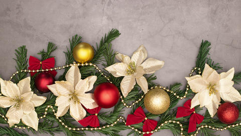 Stop motion animation of gold pearls appear on beautiful garland with gold and red decoration Animation