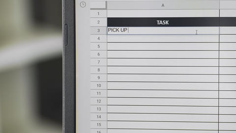 Person marking task PICK UP THE PAX in online plan, to-do list Live Action