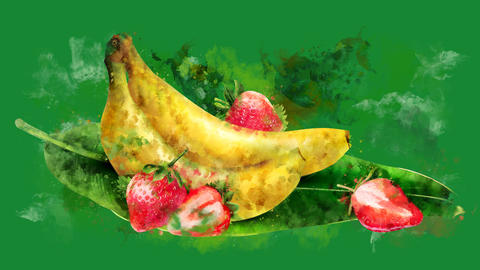 The appearance of the banana and strawberry on a watercolor stain CG動画