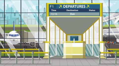 Flight to Baku on airport departure board. Trip to Azerbaijan loopable cartoon Live Action