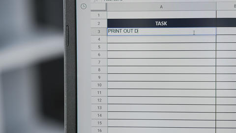 Person marking task PRINT OUT DOCUMENTS in online plan, to-do list Live Action