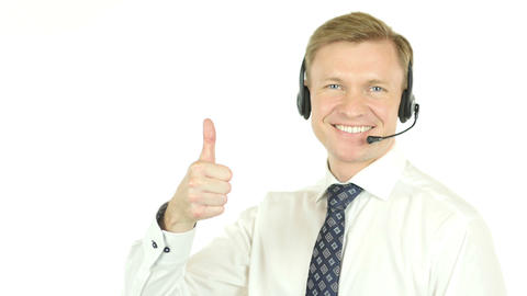 Thumbs Up by Call Center Operator, Helpline Agent Footage