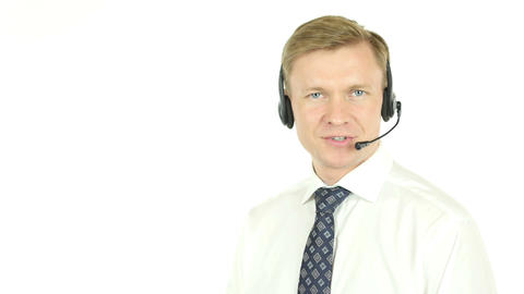 Helpline, Smiling Operator with Headphones Footage