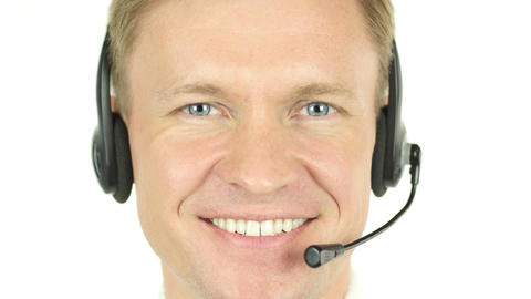 Smiling Face of Call Center Agent with Headphones Footage