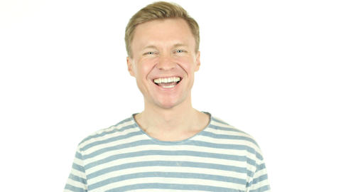 Closeup of handsome guy Laughing on Joke, Isolated on white background Live Action