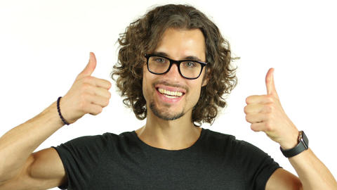 Thumbs Up by Man in Glasses, White Background Footage