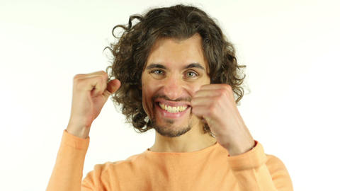 Expressing Excitement of Success, Man with Curly Hairs Live Action