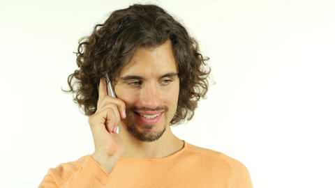 Casual Man with Curl Hairs, Talking on Smartphone, Portrait Footage