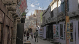 Shops in Leh old town with royal palace,Leh,Ladakh,India Footage