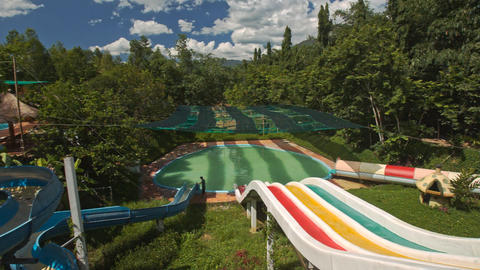 Water Slides in Tropical Water-park Complex Footage