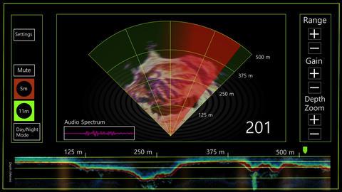Modern satellite GPS navigation and sonar for ships design element Live Action