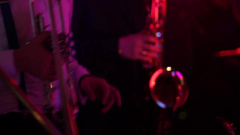 Man playing the trumpet during a performance light from... Stock Video Footage