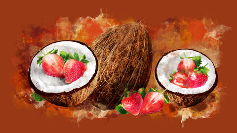 The appearance of the coconut and strawberry on a watercolor stain GIF