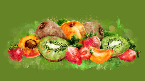 The appearance of the apricot, strawberry and kiwi on a watercolor stain GIF