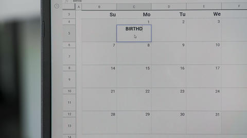 Writing BIRTHDAY on 1th on calendar to remember this date GIF
