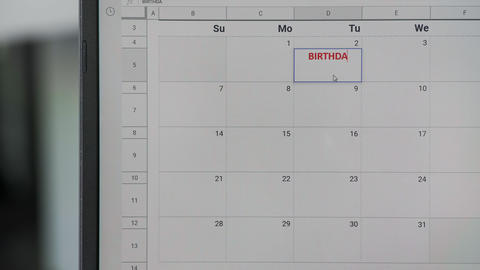 Writing red BIRTHDAY on 2th on calendar to remember this date GIF