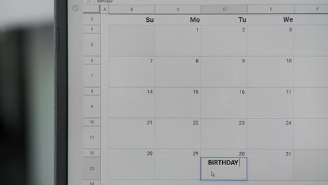 Writing BIRTHDAY on 30th on calendar to remember this date GIF