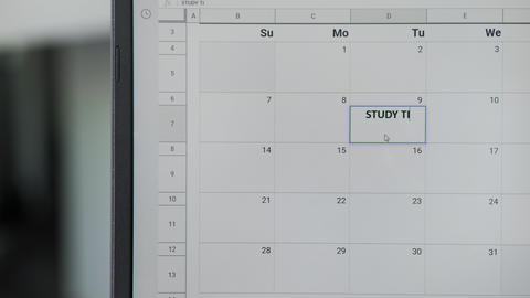 Writing STUDY TIME on 9th on calendar to remember this date GIF