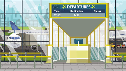Flight to Milan on airport departure board. Trip to Italy loopable cartoon Footage