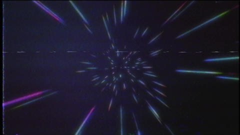 4K Abstract VHS retro cosmic background. Hyper jump into another galaxy. fast Animation