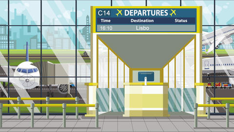 Flight to Lisbon on airport departure board. Trip to Portugal loopable cartoon Live Action