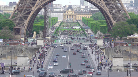 Eiffel Tower and Daytime Traffic Live Action