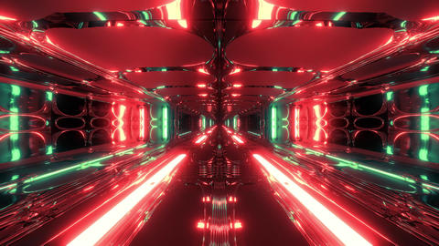 futuristic scifi fantasy alien hangar tunnel corridor with hot metal 3d Animation